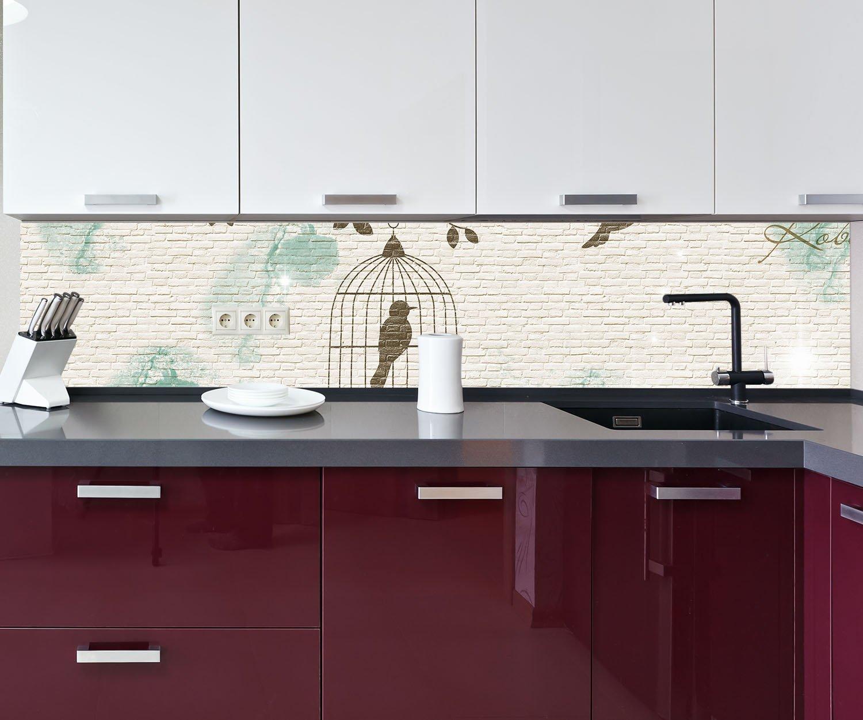 wandmotiv24 Küchenrückwand Klinker hell Vintage Vogel ...