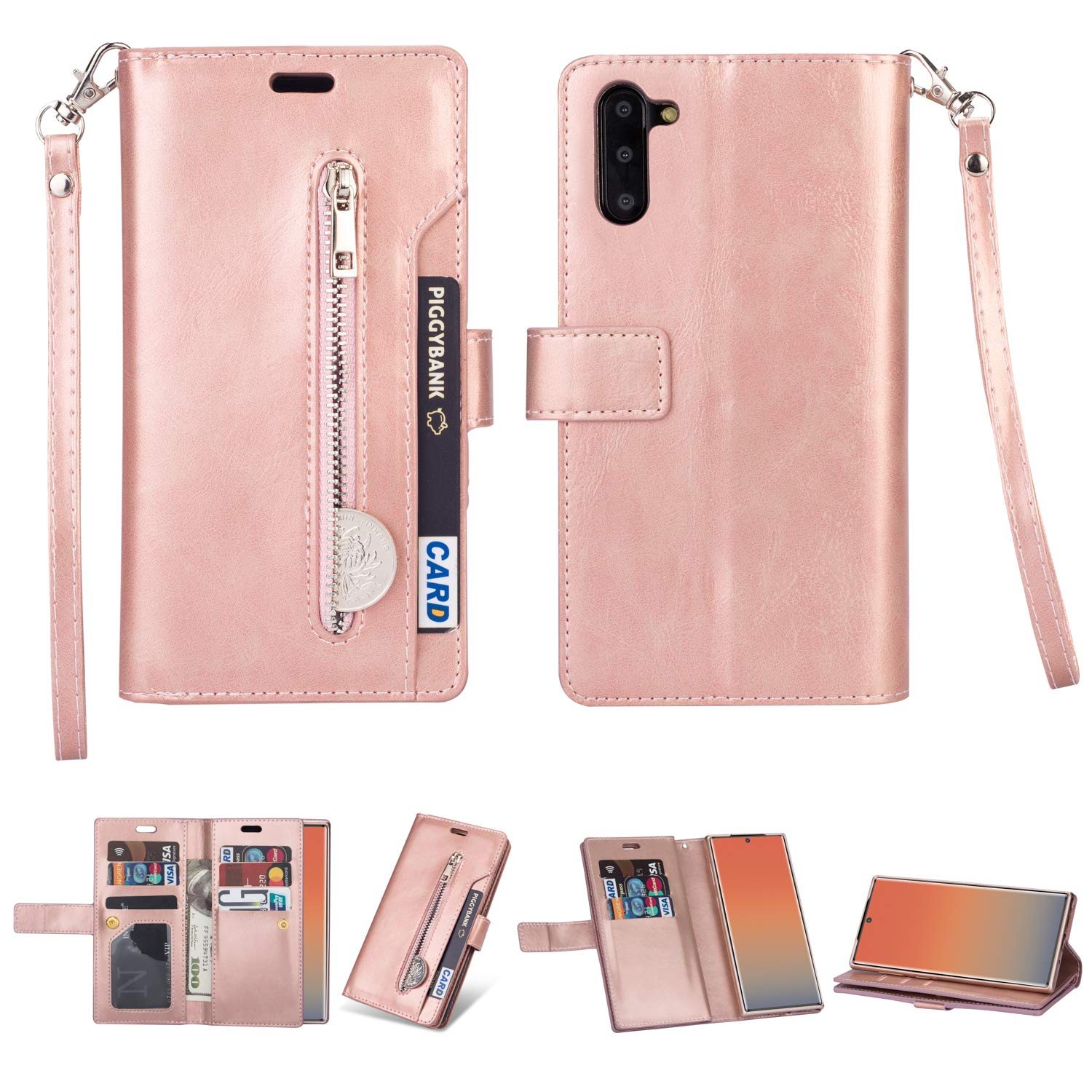 DAMONDY for Samsung Note 10 Case,Zipper Stand Wallet Purse 9 Card Slot ID Holders Design Flip Cover Pocket Purse Leather Magnetic Protective for Samsung Galaxy Note 10-Rose Gold by DAMONDY