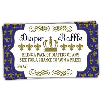 50 Royal Prince pañales Raffle Tickets | Boy bebé ducha juego