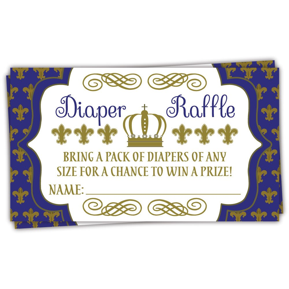 50 Royal Prince Diaper Raffle Tickets | Boy Baby Shower Game