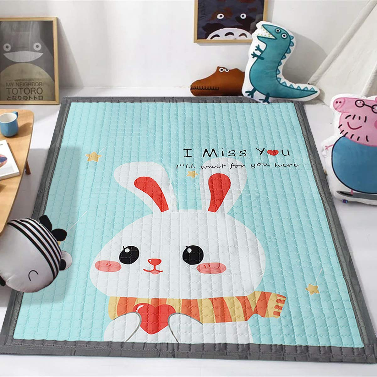 Jeteven 145x195x1.5cm Baby Krabbeldecke Anti-Rutsch-Spielmatte für Jungen und Mädchen,mit Tragetasche,groß und weich (Häschen)