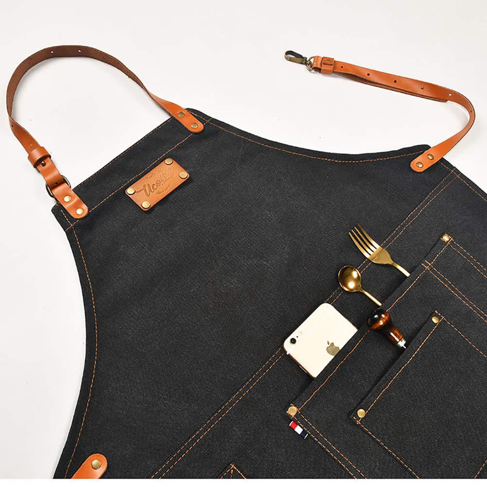 Adjustable Canvas Work Apron for Men and Women with 3 Pockets and A towel Loop, Retro Thick Sturdy Heavy Duty Wear-resistant Waterproof Bib for Woodworking, Cooking, Garden working(Black) by Starry sky12 (Image #4)