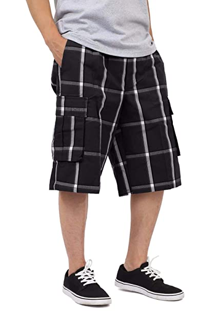8232d49545 Shaka Wear Men's Relaxed Fit Plaid Cargo Shorts S~5XL | Amazon.com