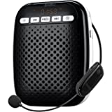Voice Amplifier SHIDU S718 UHF Wireless Voice Amplifier for Teachers 10W Portable PA System with Headset Microphone Built-in Rechargeable Battery and Hands-free Waist-Band