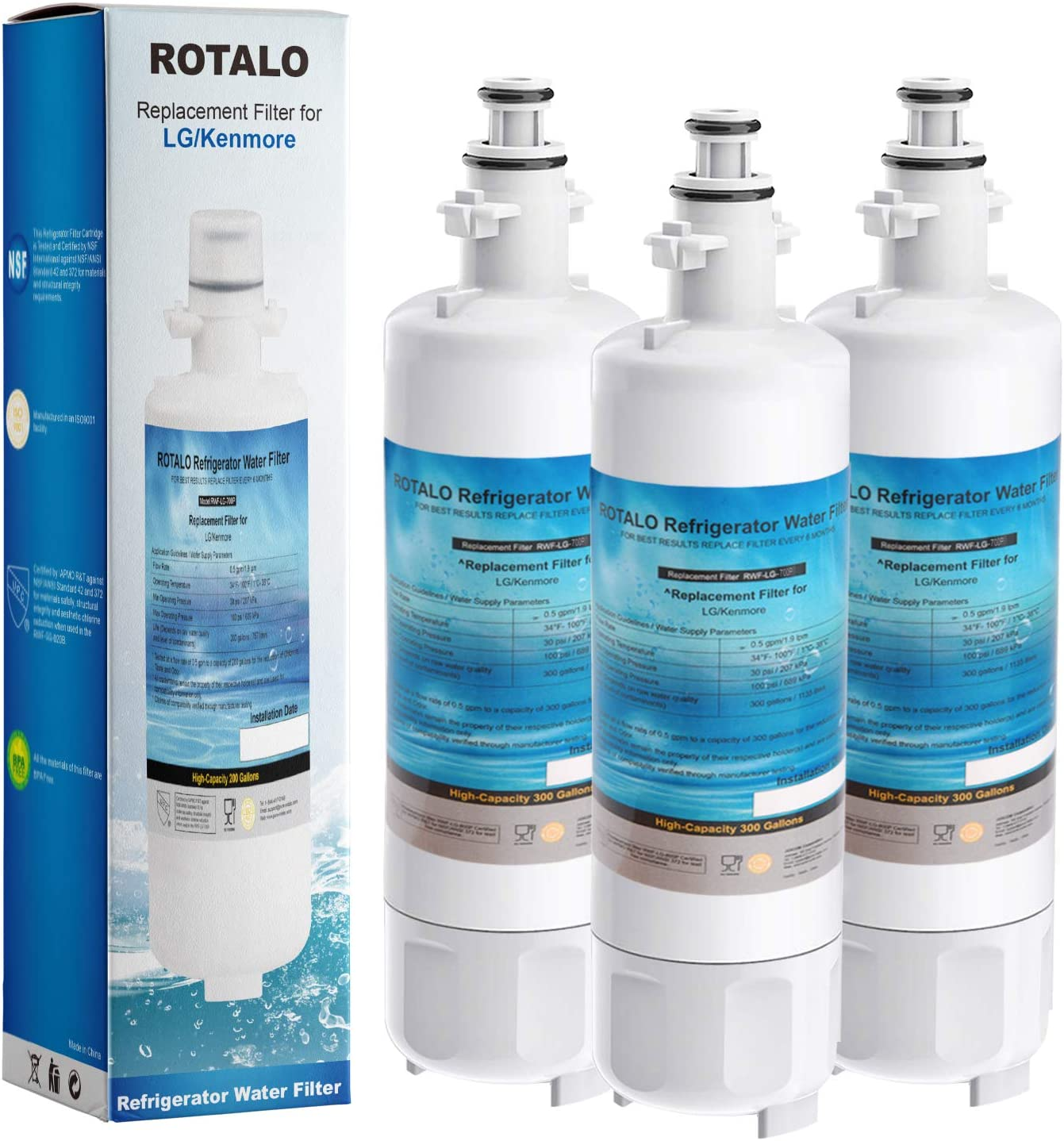 LG LT700P & Kenmore 9690 Refrigerator Water Filter ROTALO NSF42 & 372 Certified Water Filter Replacement Compatible with LG LT700P ADQ36006101 Kenmore 9690 Other Compatible LG Models (3 Pack)