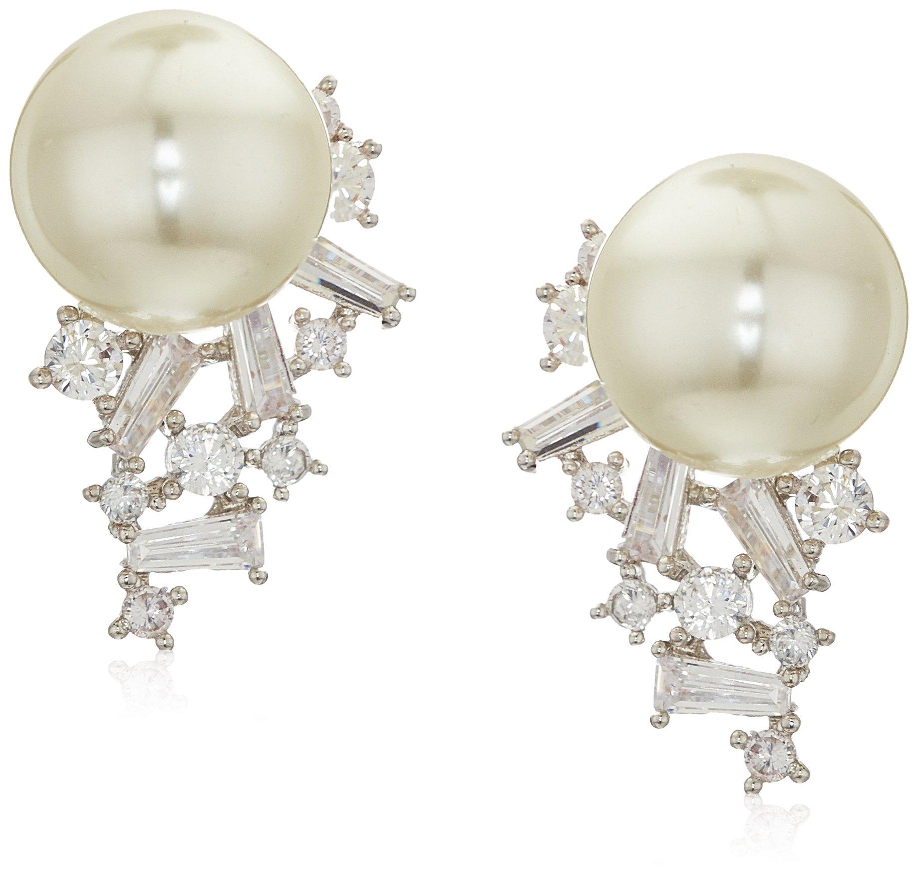 Carolee Pearl Crystal Spray Drop Earrings