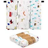 LEADSTAR Muslin Swaddle Blanket, 3 Pcs Large Receiving Blanket, Soft Bamboo Cotton Receiving Swaddle Baby Gift, Muslin Blanke