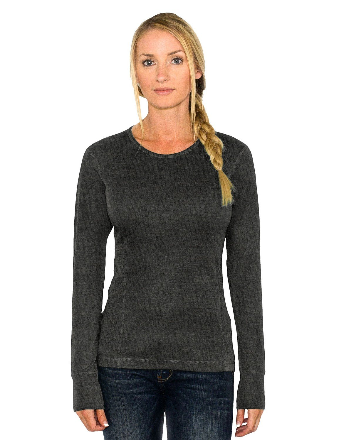 WoolX Hannah - Women's Merino Wool Top - Midweight, Moisture Wicking Merino Wool Base Layer, Large, Charcoal Heather