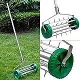 Popamazing Heavy Duty Garden Lawn Aerator Roller/Rolling Scarifier 3.5cm Deep