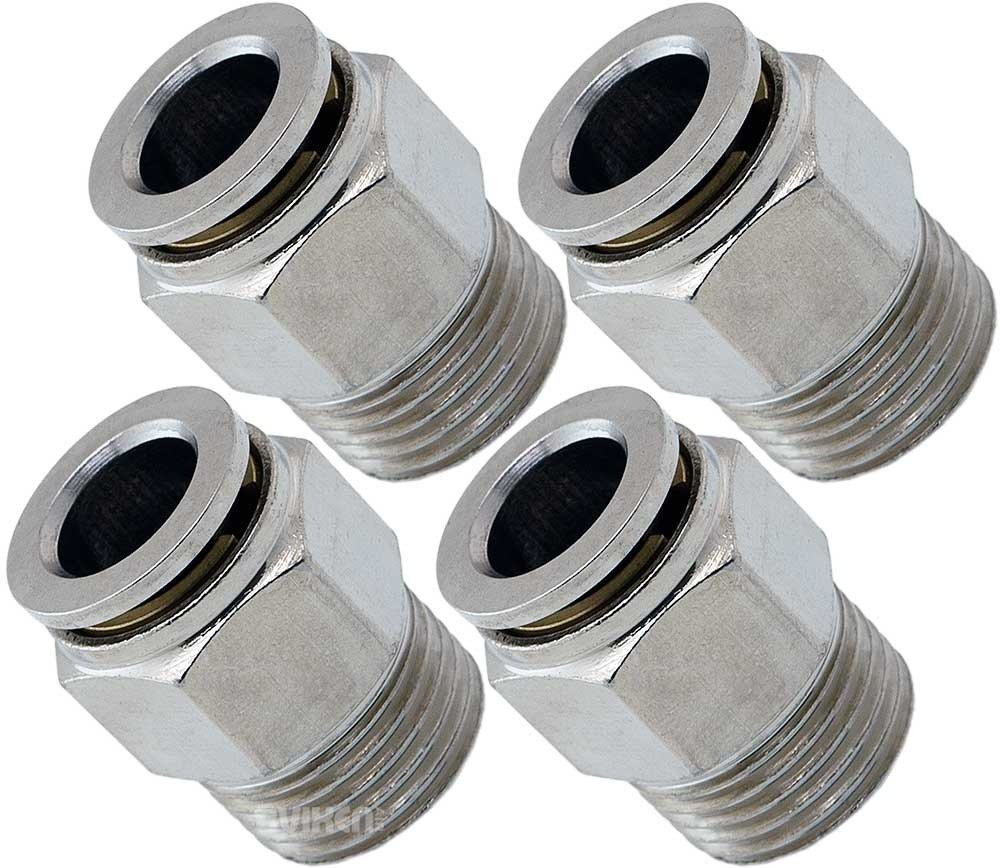 Vixen Air 3/8'' NPT Male Push to Connect (PTC) Straight Pneumatic Fitting for 3/8'' OD Hose Bundle of Four Fittings VXA7383-4