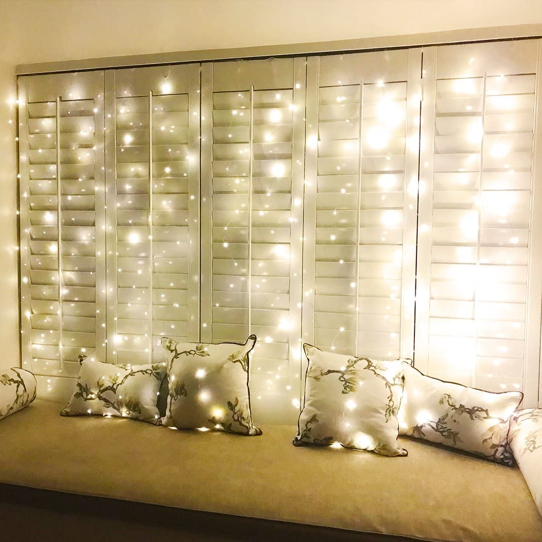 ZSCOO 300 LED Window Curtain Fairy String Light Silver Wire for Wedding Party Home Garden Bedroom Outdoor Indoor Wall Decorations Light with Remote Warm White