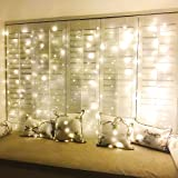 ZSCOO 300 LED Window Curtain Fairy String Light Silver Wire for Wedding Party Home Garden Bedroom Outdoor Indoor Wall Decorations Light with Remote (Warm White)