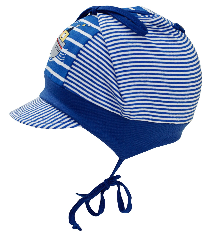 EveryHead Fiebig Sommermützchen Bindemütze Schirmmütze Jungenmütze Baby Keinkind Cap Sommercap mit Ohrenklappen und Schild (FI-87384-S16-JU0) inkl Hutfibel
