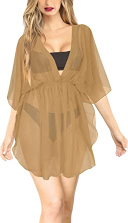 0e6c9a88019a5 LA LEELA Kimono Cover up Plus Bathing Suit Plus Beige_I761 OSFM 8-16W [M
