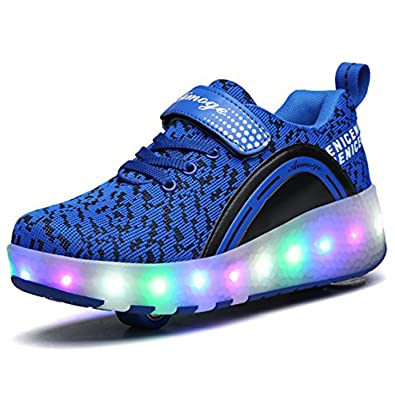 Unisex Schuhe mit Rollen Kinder Skateboard Schuhe Rollschuh Schuhe LED Light Wheels Sneakers Outdoor-Trainer für Junge Mädchen (36 EU, Ein Rad / Rosa)