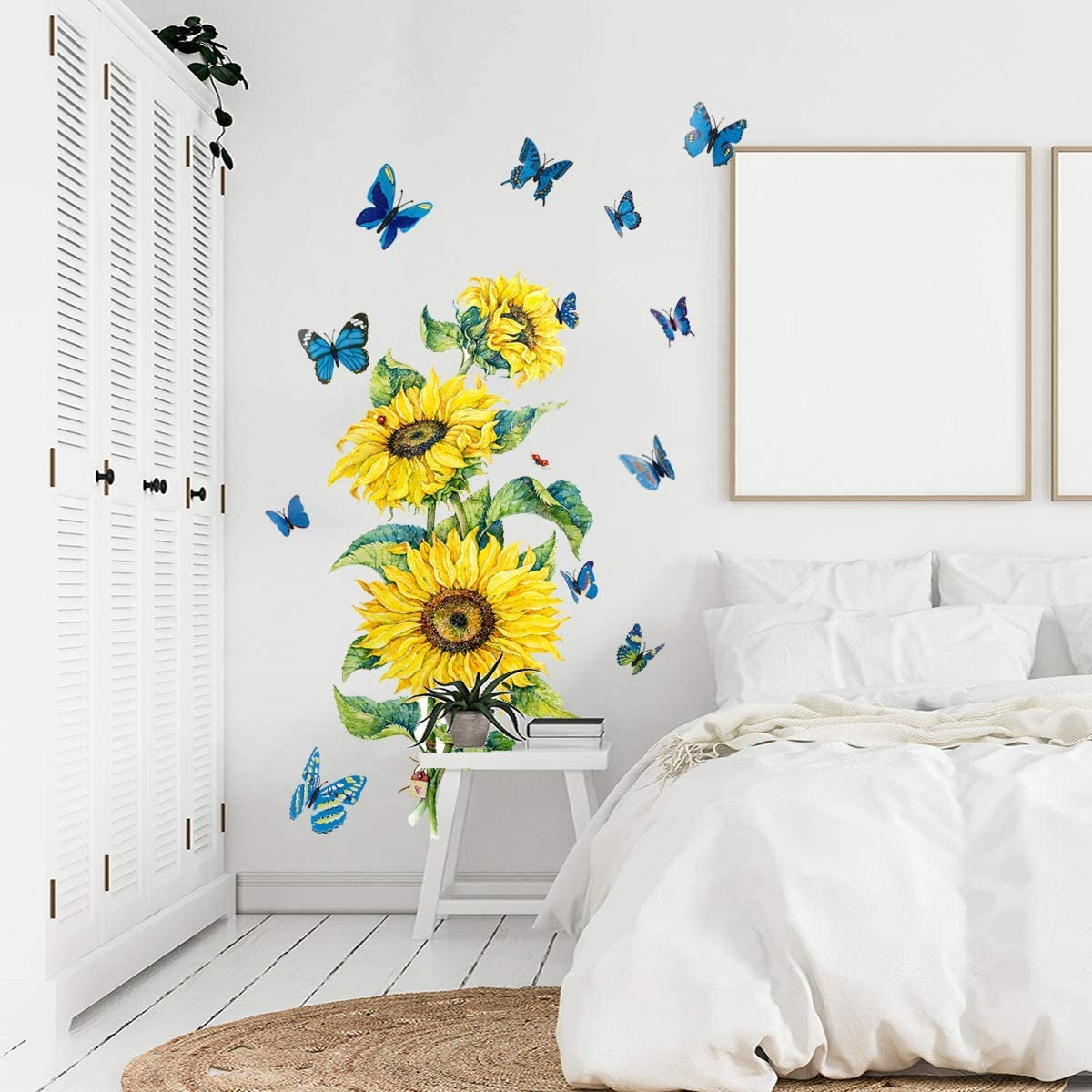 Sunflower Wall Stickers with 12Pcs 3D Blue Butterfly, EsLuker.ly Vinyl Sunflower Floral Wallpaper Decals Removable DIY Yellow Flower Art Mural Decor for Living Room Bedroom Nursery (ZSZ1339)