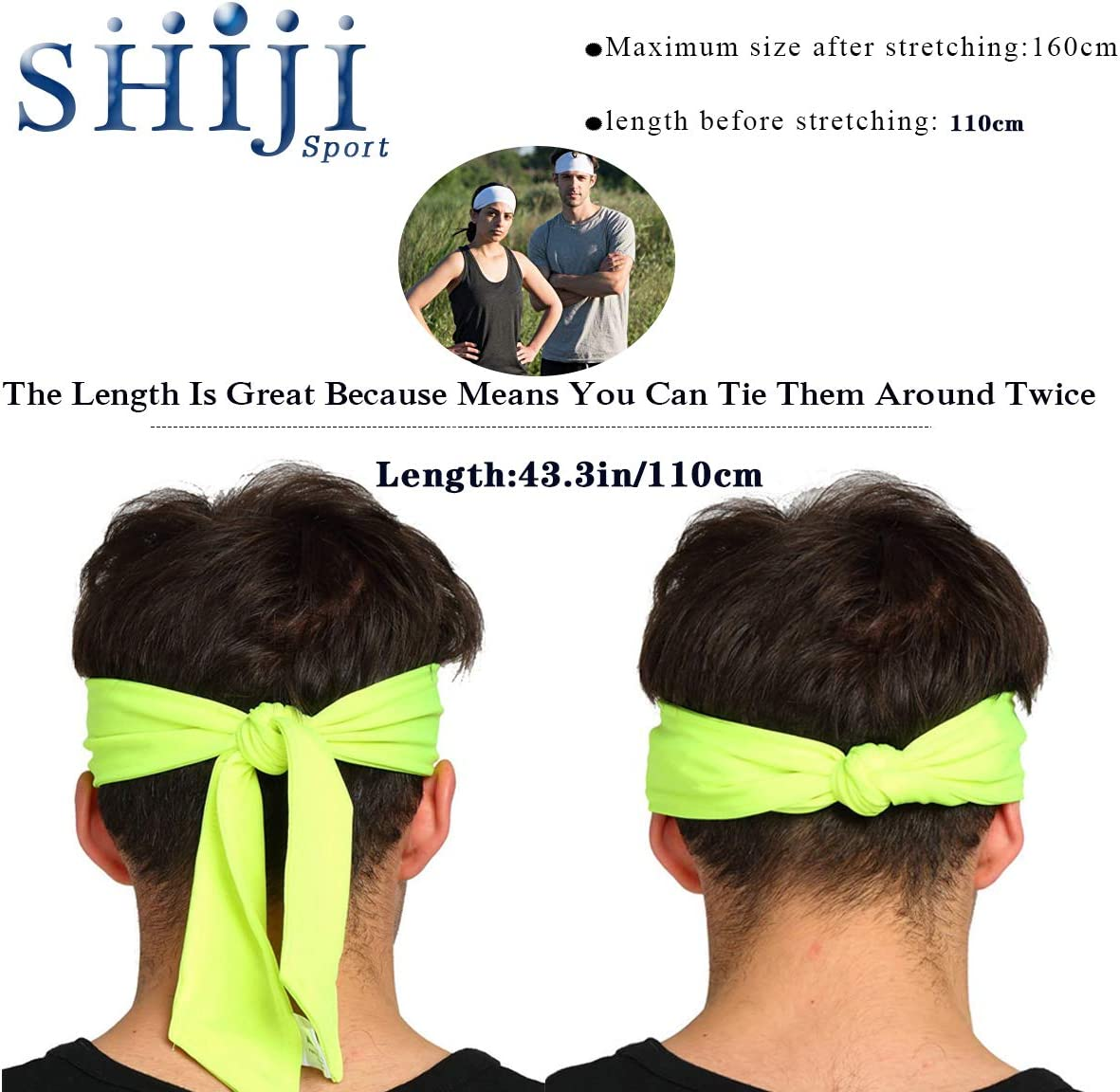 Sports Headband for Running Working Out and Premium Sweatband for Hairband with Performance Stretch. SHIJI Sports Head Tie for Women Men Tennis with Moisture Wicking /& Non Slip
