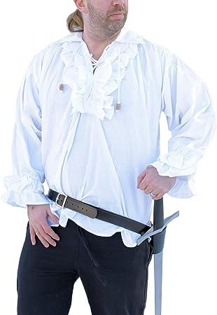 Camisa de volantes - camisa de manga larga de algodón con diseño de piratas, colour blanco de la Edad media, juegos de rol, camisa de pirata: Amazon.es: Deportes y aire libre