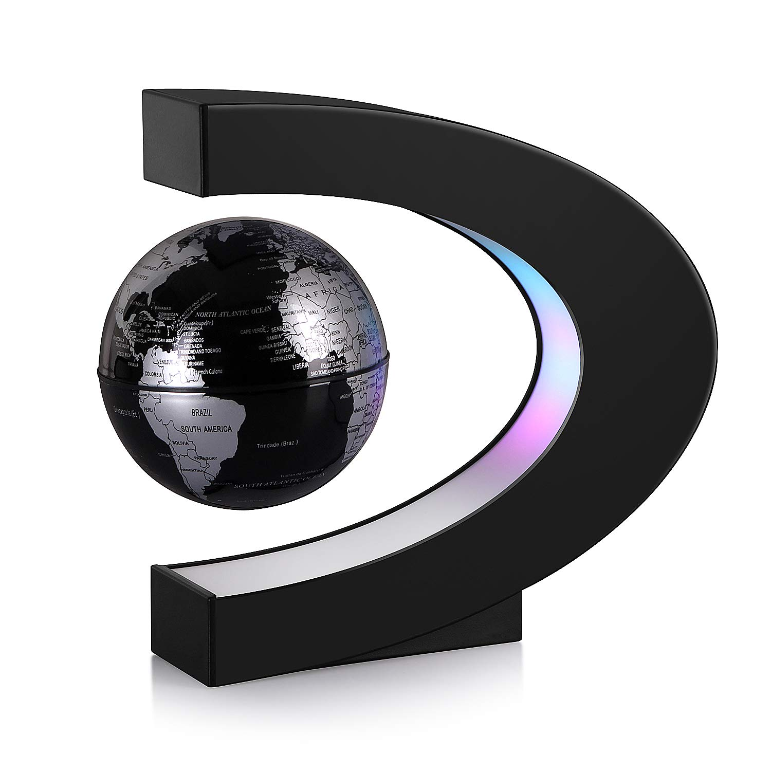TeaMaX Magnetic Levitation Floating World Map Globe with C Shape Base, Best Business Men Gift, Floating Globe with LED Lights, Fathers Students Teacher Birthday Gift