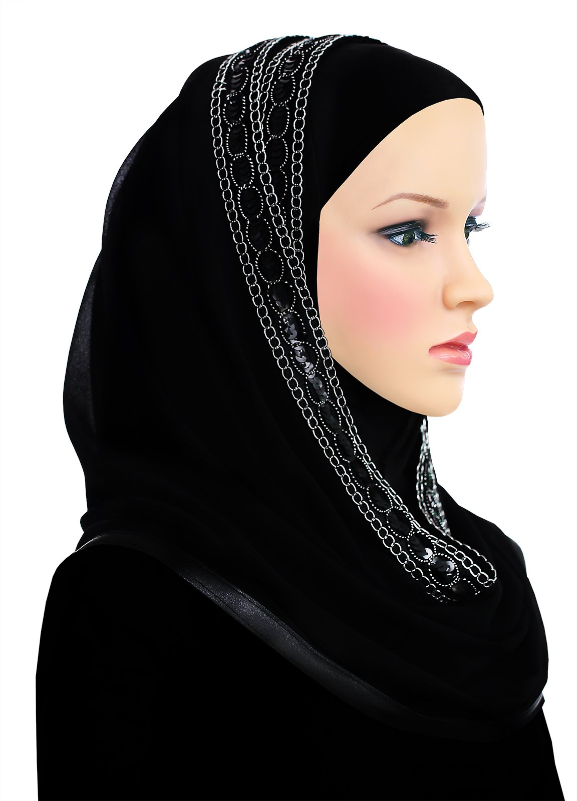 Muslim Women's Luxor Wrap Hijab Kuwaiti Mona (Black)
