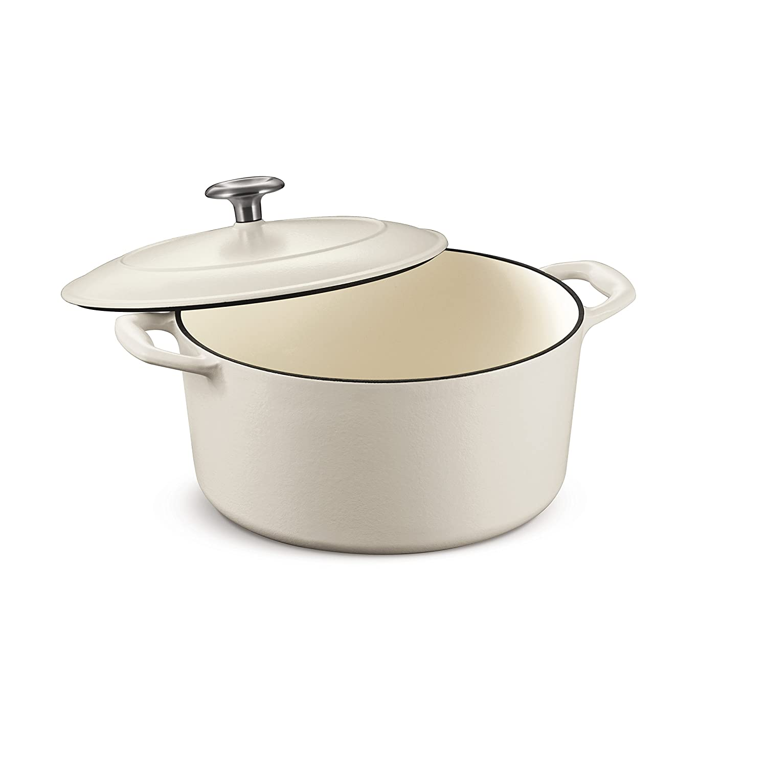 Tramontina 80131/035DS Enameled Cast Iron Covered Round Dutch Oven, 5.5-Quart, Matte White