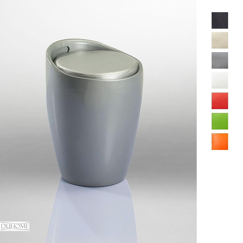 Sgabello con vano portaoggetti, di Duhome, seduta removibile, ideale come cesta per biancheria, in colori assortiti, modello:9-6220 argento Duhome Elegant Lifestyle®