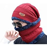 AlexVyan Premium Quality Ultra Soft Unisex Woolen Beanie Cap Plus Neck Scarf Set for Men Women Girl Boy - Warm, Snow Proof - 20 Degree Temperature