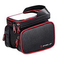 Modesty Bike Frame Bag, Head Tube Bag, Bicycle Cycling Front Top Tube Frame Pannier Double Bag Pouch Holder Crossbar Bag for iPhone X 7 Plus/6/6S Plus Smartphones up to 6.2'' - CT001