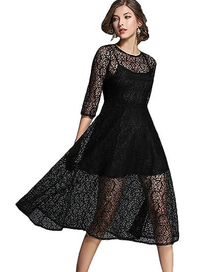 AIKOSHA Womens 2 Layers Sheer Floral Lace Dress Bridal Engagement Half  Sleeve Swing Midi Dress  Amazon.co.uk  Clothing ace174022