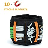 Magnetic Wristbands 10 Strong Magnets Armband Tool Holder with Adjustable Strap Tools for Holding Screws, Nails, Drilling Bits,Bolts ,Best Unique Tool Gift for Men, DIY Handyman, Father/Dad, Husband, Boyfriend, Him, Women