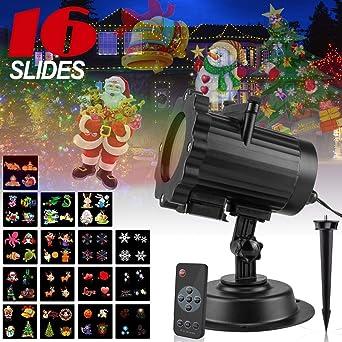 Lampe Motifs Projecteur Lumière Remplaçables Paysage Lighting Eclairage Étanche 16 Pour Spot Décorations Extérieur Led Télécommande Noël 8PnXwOk0