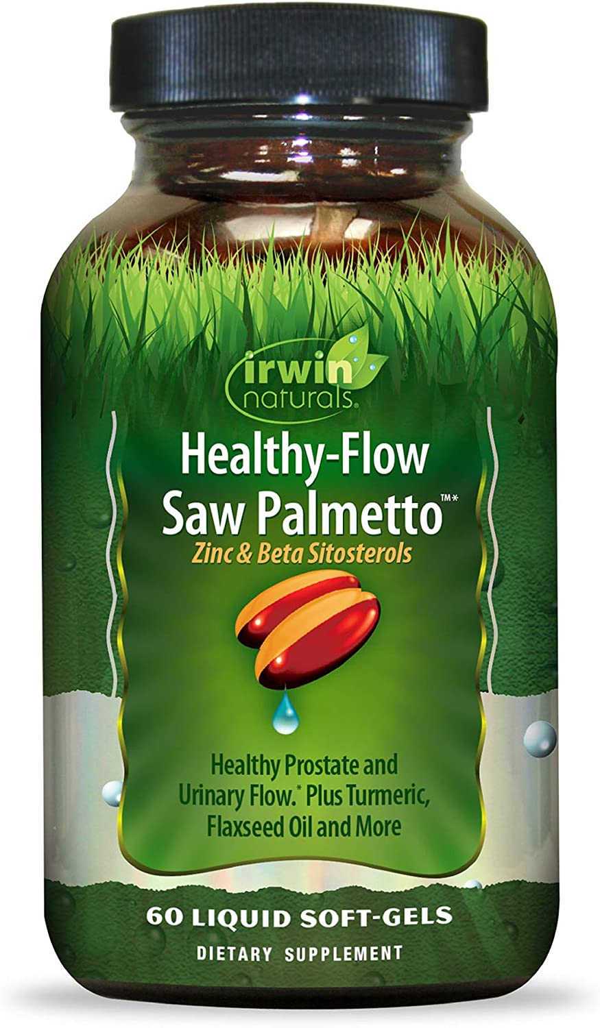 Irwin Naturals Healthy Flow Saw Palmetto with Zinc, Beta Sitosterols, Turmeric, Stinging Nettle & Pumpkin Seed - Promotes Healthy Prostate & Urinary Flow - Antioxidant Support - 60 Liquid Softgels