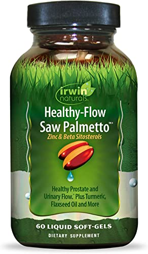 Irwin Naturals Healthy Flow Saw Palmetto with Zinc, Beta Sitosterols, Turmeric, Stinging Nettle Pumpkin Seed – Promotes Healthy Prostate Urinary Flow – Antioxidant Support – 60 Liquid Softgels