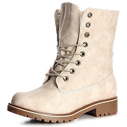 topschuhe24 Mujer Botín Botines Worker Boots, Color:Beige, Número de Zapato:36