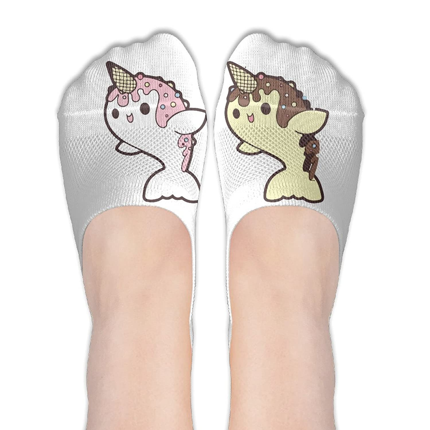 Cute Ice Cream Narwhal Women's No Show Low Cut Casual Ankle Socks