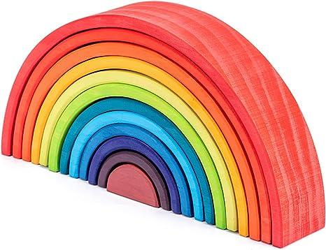 QPPWJ- Arco Iris del Bloque Infantil del Puente del Arco del Semicírculo Jenga De Madera Tarjeta Doblado, Puzzle De Aprendizaje Temprano, Coordinación Mano-Ojo,Brightcolor: Amazon.es: Deportes y aire libre