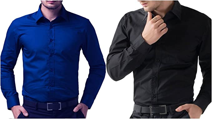 19e75f0ebc6 BS Fashion Full Sleeve Slim Fit Casual Formal Wear Royal Blue Black ...