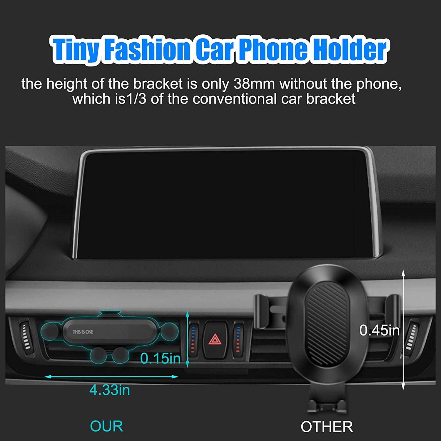 Car Phone Holder,Air Vent Cell Phone Mount for Car,Anti-Slip Car Phone Mount Compatible with Samsung Android Smartphones,Mini Telescopic
