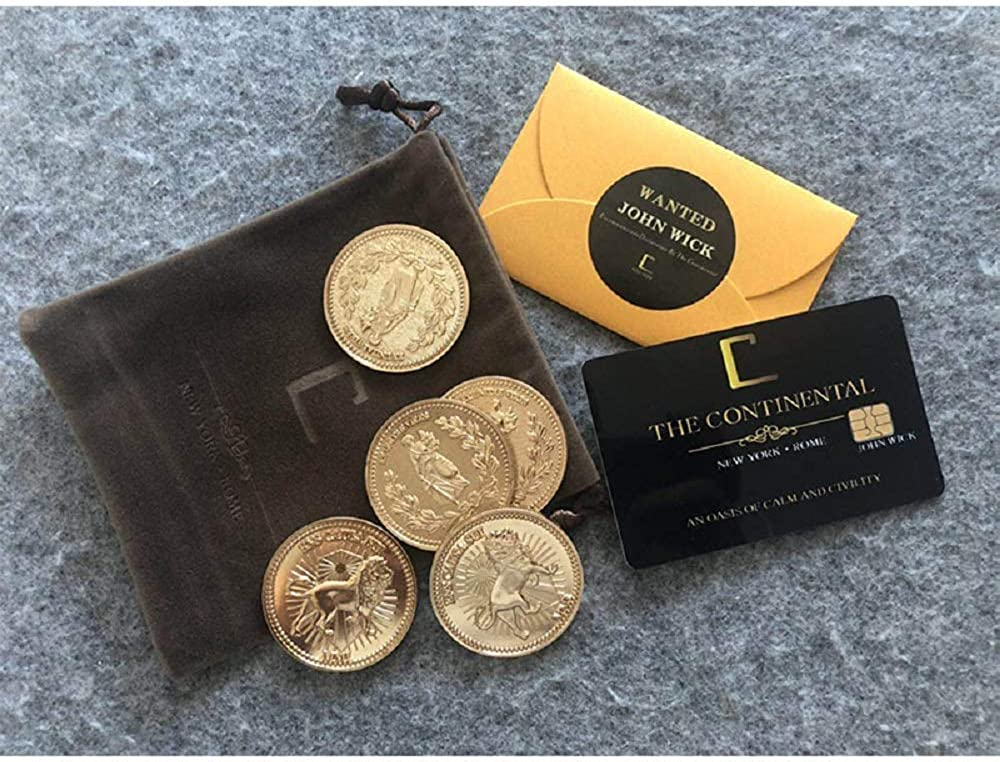 RyuLifeStyle John Wick Cosplay Accessories Gold Coins Continental Hotel Card Blood Oath Marker
