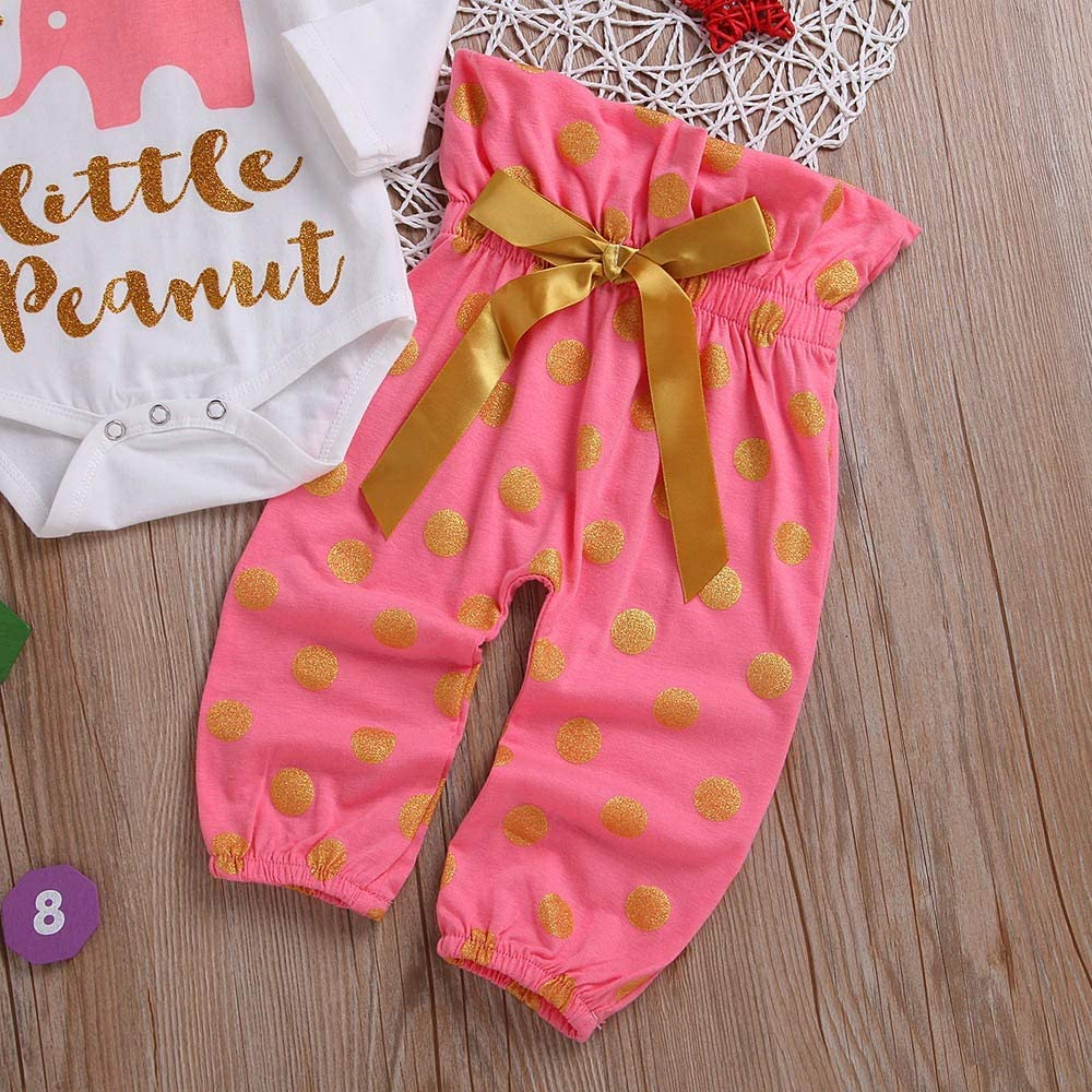 KONFA Toddler Baby Girls 3Pcs Outfits Clothes,Letter Romper+Bowknot Dots Bronzing Print Pants+Headband Sets,for 3-24 Months