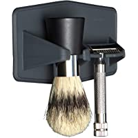 Tooletries - The Maverick, Silicone Waterproof Razor And Brush Holder Slim - Holds Both Your Razor And Shaving Brush, Silicone Toiletry Organizer, Shower And Bathroom. (Charcoal)