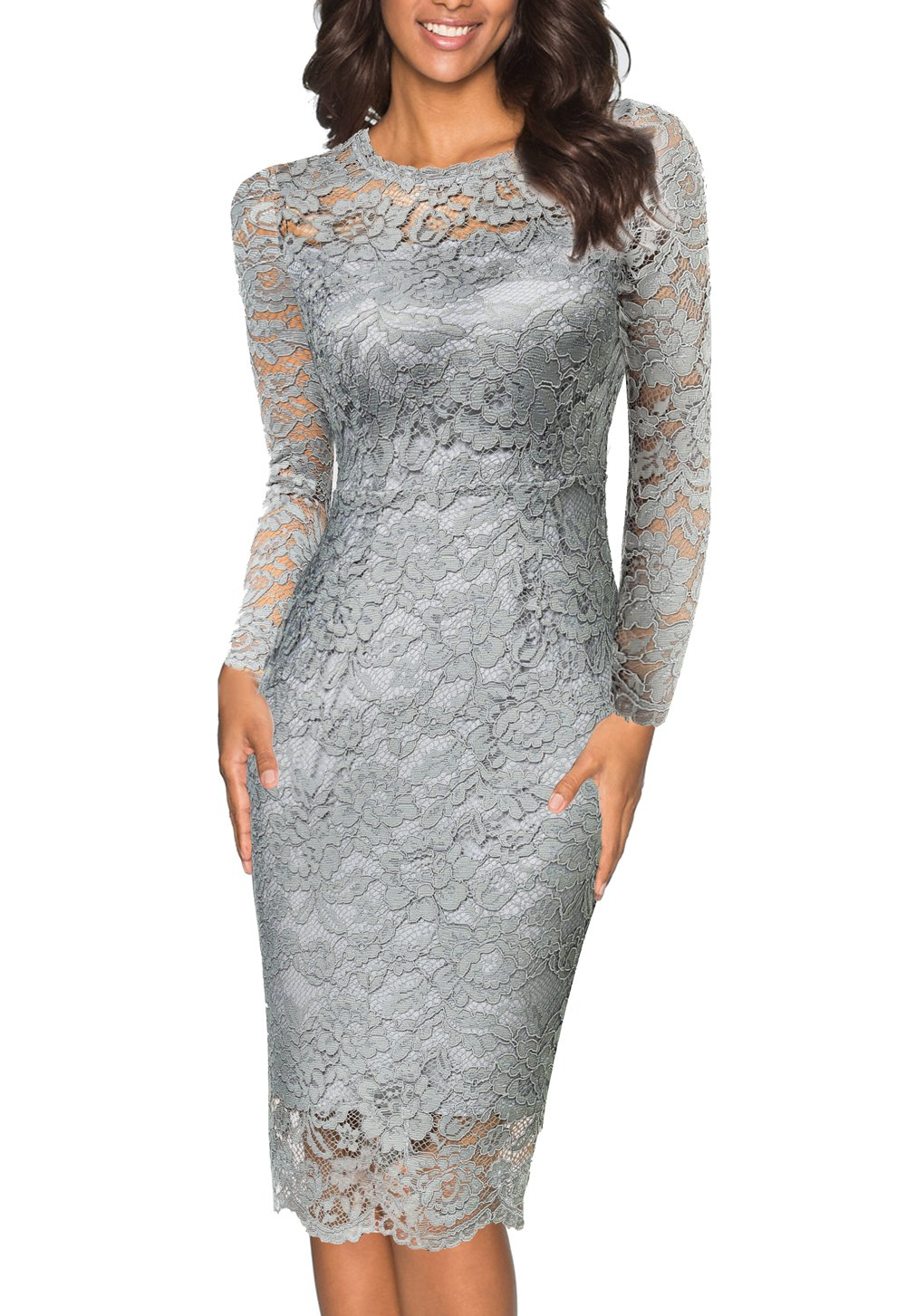 Joy EnvyLand Women Crewneck Sheath Lace Cocktail Prom Party Lined Midi Dress, Grey, X-Small