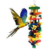 Uheng Bird Parrots Wooden Knots Blocks Chewing Toys, Cage Bite for African Grey Macaws Cockatoos Eclectus Conure Parakeets Cockatiel, Nibbling Preen for Beaks Trim, 13X 4Inch