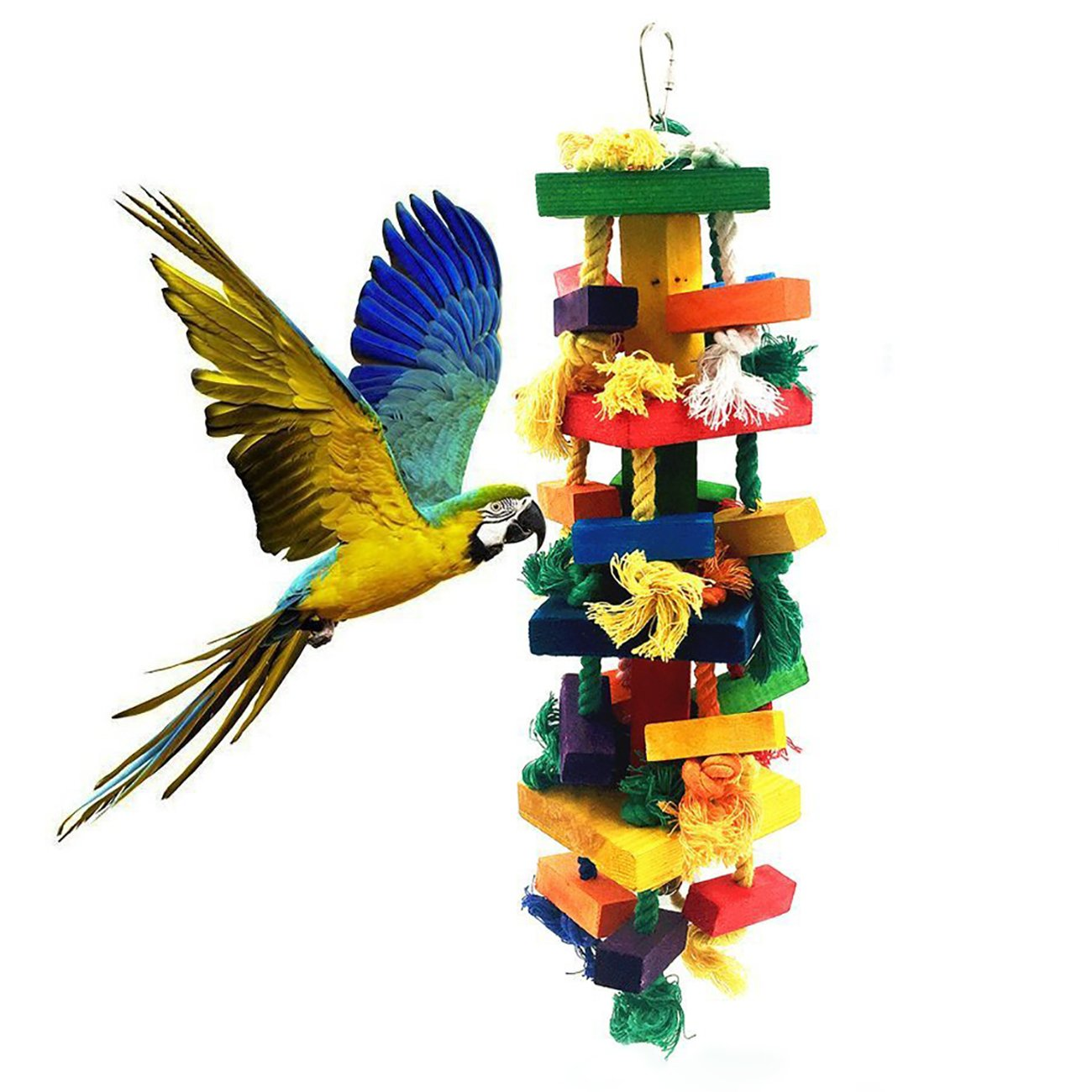 Uheng Bird Parrots Wooden Knots Blocks Chewing Toys, Cage Bite for African Grey Macaws Cockatoos Eclectus Conure Parakeets Cockatiel, Nibbling Preen for Beaks Trim, 17X 5Inch 17X 5Inch -Multi-Colored -2 Pack