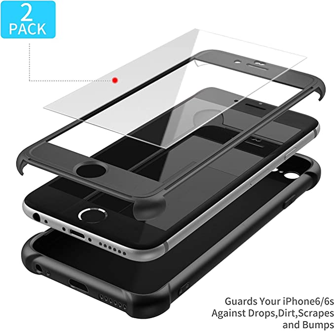 ORETECH Compatible with iPhone 6 and iPhone 6s Case with[2 x Tempered Glass Screen Protector] 360 Shockproof Cover Thin Anti Scratch Hard PC Silicone ...