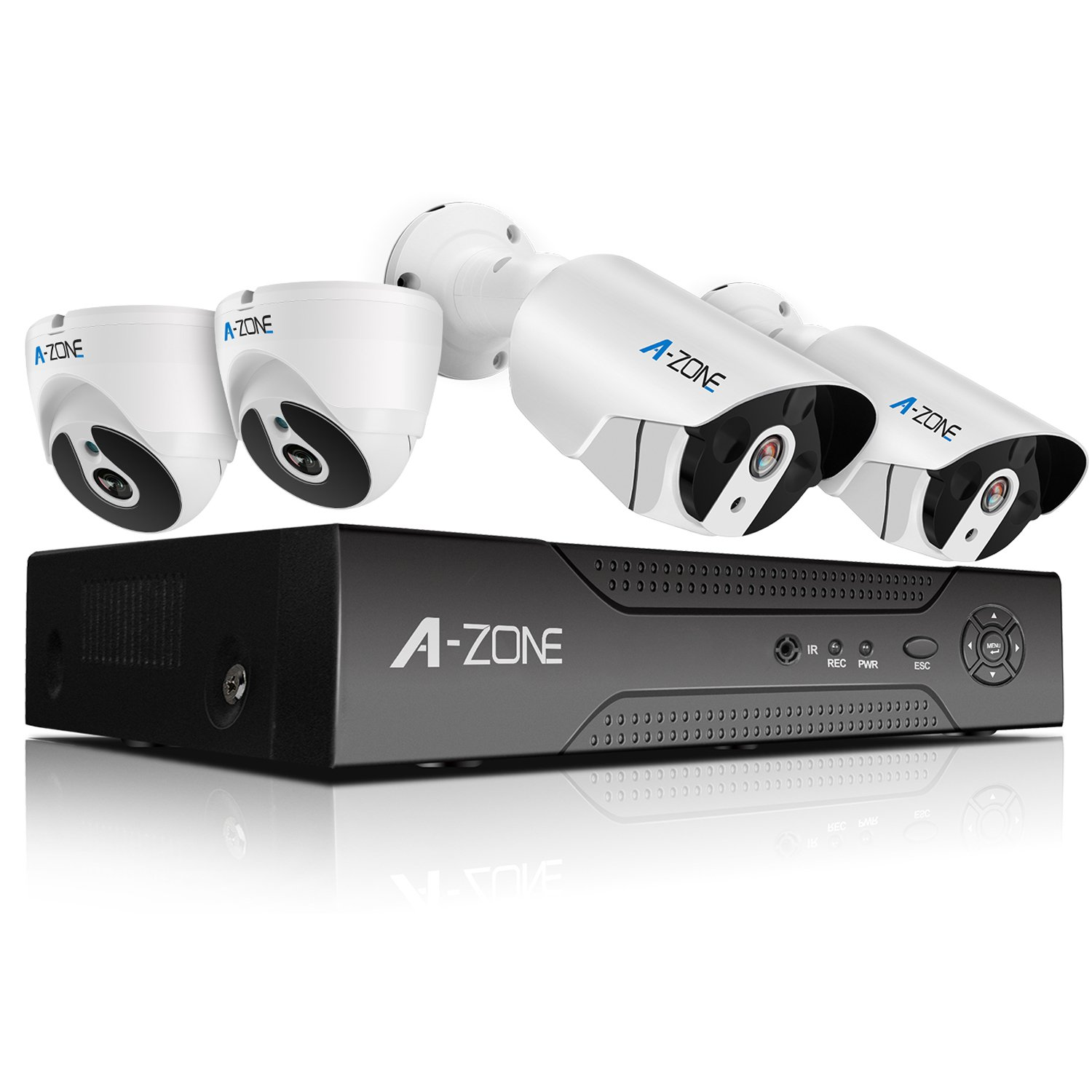A-ZONE Full HD-TVI Security Camera System 4 Channel 1080P Surveillance DVR with 2x 1080P Weatherproof IP67 Dome Cameras and 2x 1080P Bullet Cameras With Super Nice IR Night Vision,included 1TB HDD