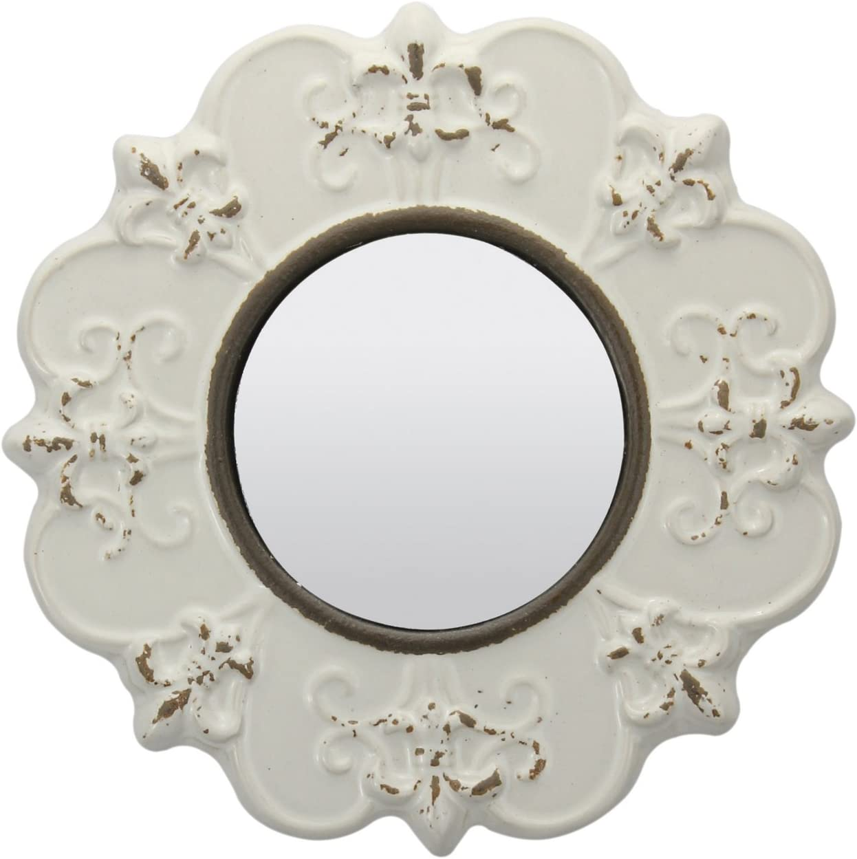 Stonebriar White Round Antique Ceramic Wall Mirror, Vintage Home Décor for Living Room, Kitchen, Bedroom, or Hallway, French Country Decor: Home & Kitchen