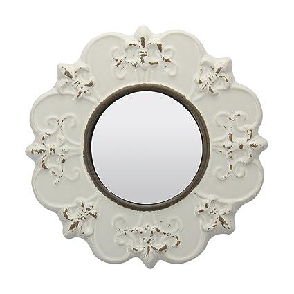 Amazon.com: Stonebriar Decorative Round Antique White Ceramic Wall ...
