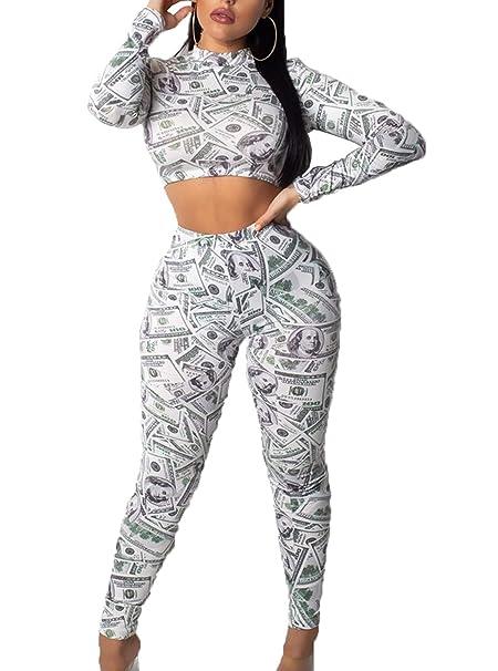 Fräulein Fox Primavera Otoño Mujer Camisetas de Manga Larga Corto Blusa  Jumper Sudaderas Top + Apretado Largo Pantalón Trousers Moda Impresión  Bodycon 2 ... 690640f4cfc5c