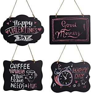 HOMEMAXS Chalkboard Sign Double-Sided First Day of School Board with Hanging String - 4 Pack